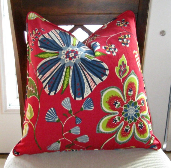 ON SALE Decorative PIllow Cover Red Blue Citrine Floral