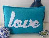 aqua love script appliqued felt cushion