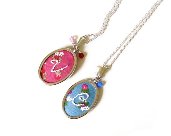 Hand Embroidered Necklace Custom Monogram Initial Letter Floral Pattern Pendant & Chain