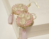 OOAK Golden Shimmery Fabric Filled Round Earrings with Teardrop Pearls
