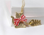 Golden Cat and Fish Necklace Mothers Day gift Idea For Mom