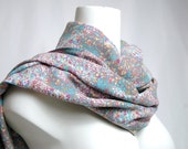 Pastel Lilac, Lavender, Grey, Powder Dusty Pink, Fuchsia, Aqua Mint Turquoise Green Blue, Yellow Floral Scarf, Shawl, Neckwarmer