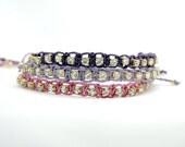 Pink Purple and Lilac Lavender Crystal Strass Macrame Braided Friendship Bracelet Set of 3