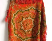 SALE vtg 80's Red Floral Folk Style Boho Scarf
