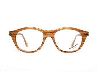 honey brown vintage glasses - striped brown eyeglasses for women - original 80s frames by Antonio Miro - miel