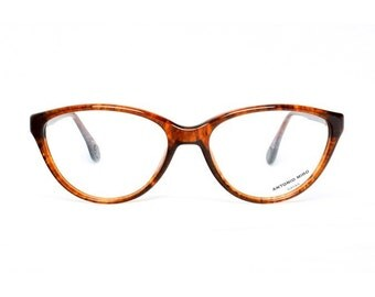 brown vintage cateye eyeglasses - tortoise shell cateye glasses frames - 1980s designer eye glasses Antonio Miro Tortuga