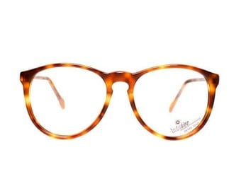 80s glasses frames brown round tortoiseshell - vintage eyeglasses for men and women - new deadstock - panto model tortoise shell 658
