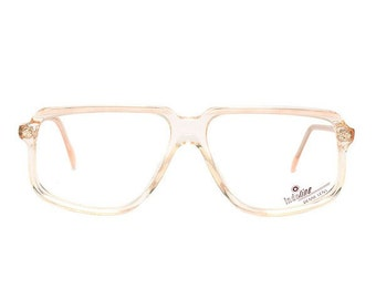 beige transparent vintage eyeglasses - square flat top glasses frames - 1980's deadstock - clear glasses - true vintage original