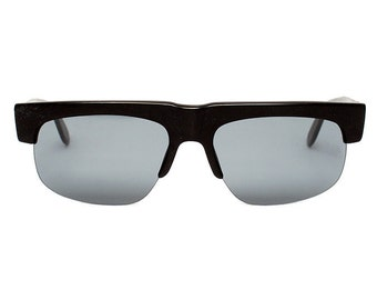 black sunglasses for men - 90s vintage sunglasses - square flat top style - semi-rimless mens sunglasses - 80s blogger fashion sun glasses