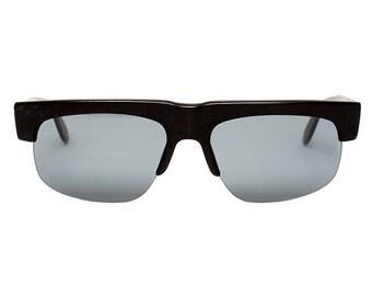Black Vintage Sunglasses - Genesis - semi-rimless - original 1980's - Blogger / Fashion Sun Glasses