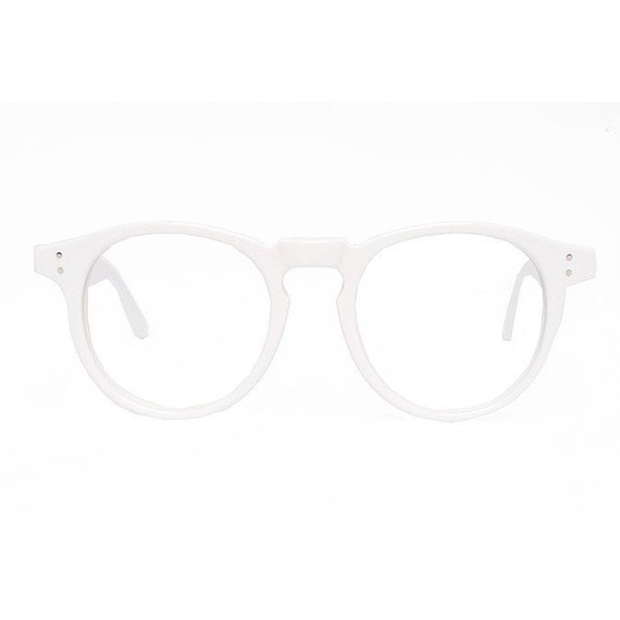 Big solid White Round Vintage Eyeglasses Frame - Harold - White glasses - 1980's oversized