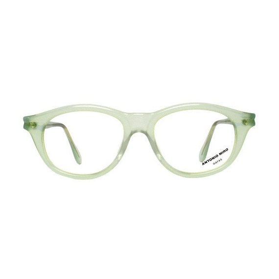 green eyeglasses - vintage transparent eye glasses frames - womens 1980s new old stock eyewear by Antonio Miro - verde