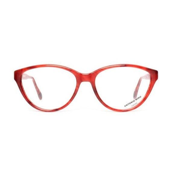 vintage cateye glasses raspberry red eyeglasses cat eye