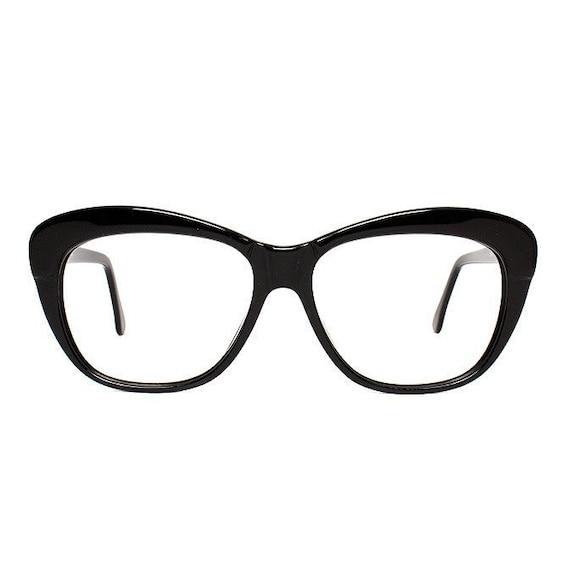 vintage black glasses frames - cateye eyeglasses fifties style - 1980s new old stock eyewear - model ghost
