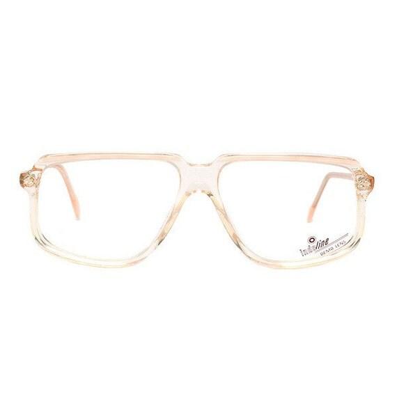 beige transparent vintage eyeglasses - square flat top glasses frames - 1980's deadstock - clear glasses - true vintage original