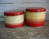 Pair of Vintage Red and Cream Button Storage Tins