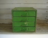 chippy green metal parts organizer with 4 drawers