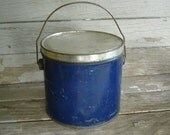 Vintage Blue Storage Tin with Bail Handle