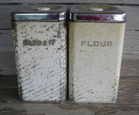 vintage white tin  chippy canisters