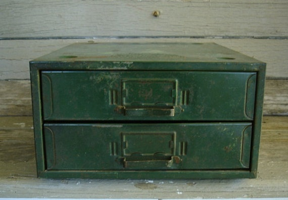 chippy green metal parts organizer with 2 drawers