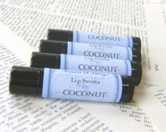 Coconut Lip Balm, Natural Beeswax Balm with Cocoa and Shea Butter