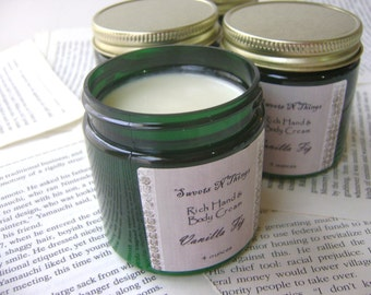 Vanilla Fig Body Cream, Body Butter with Hemp and Mango Butter