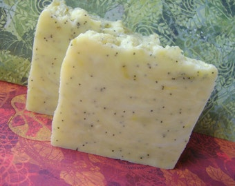 Lemon Poppyseed Soap, Handmade Vegan Hot Process bar soap