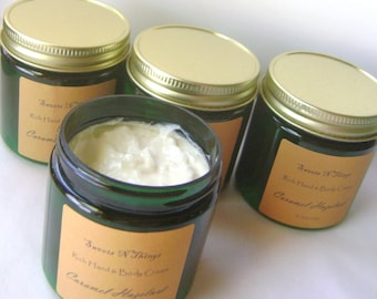 Hand and Body Cream with Aloe and Cocoa Butter, Caramel Hazelnut Scent