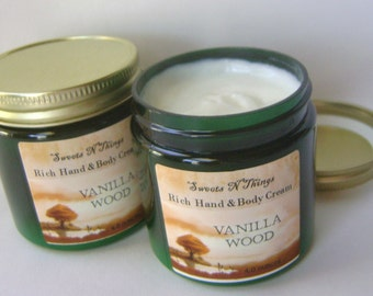 Hand and Body Cream with Aloe, Vanilla Wood Scent