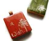 Dandelion Scrabble Tile Necklace Hand Painted Vintage Scrabble Tile in Coral or Olive -Wish - heversonart