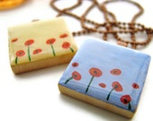 Red Poppies Scrabble Necklace Hand Painted in Blue or Yellow, Nature Jewelry
