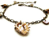 Romantic Shell Anklet with Mother of Pearl, Wood, Shell Heishi and Brass - Ocean Treasures - heversonart