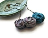 Triple Rosette Necklace with Sari Silk Ribbon and Antique Copper Chain Iris Grey and Peacock Blue - heversonart