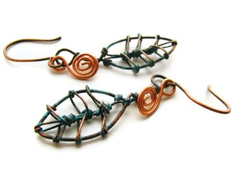 Primitive Rustic Leaf Earrings Copper Wire Wrapped With Verdigris (Green) Patina, Bohemian Woodland Nature Jewelry