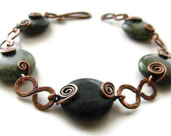 Primitive Infinity Link Green Russian Serpentine Bracelet Rustic Copper Wire Wrapped with Coils