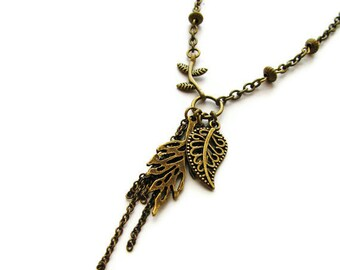 Falling Leaf Brass Necklace Bohemian Nature Jewelry