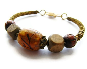 Asian Flower Bangle Bracelet Wire Wrapped with Antique Brass and Wood Beads, Rustic Nature Jewelry OOAK