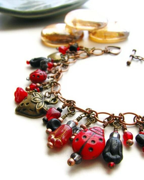 Ladybug Charm Bracelet with Czech Glass, Copper and Bronze OOAK -Kaylie's Ladybug Love