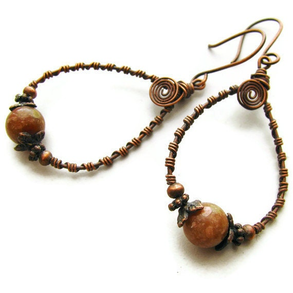 Autumn Jasper Hoop Earrings Primitive Bohemian Copper Wire Wrapped - Autumn Sunrise