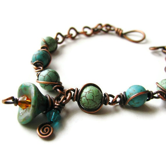 Magnesite Rustic Bohemian Flower Bracelet Antique Copper Wire Wrapped - Turquoise Flowers