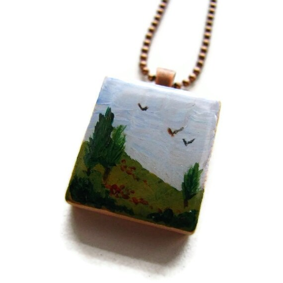 Tuscany Landscape Scrabble Necklace Hand Painted Italian Countryside Landscape, Nature Inspired Jewelry
