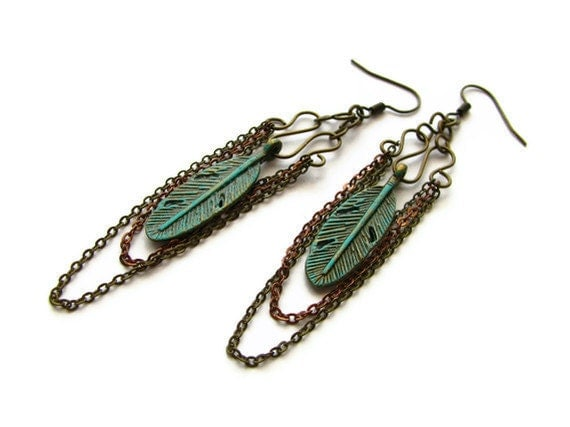 Gypsy Feather Earrings in Vertigris Patina With Antique Brass and Copper Chain in Bohemain Style