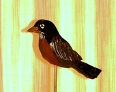 Bird made of wood, Robin, Garden stake