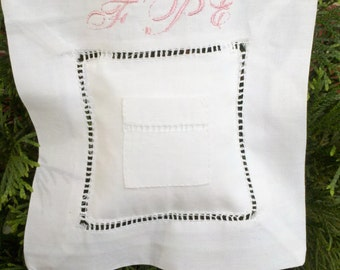 Tooth Fairy Pillow Personalized  For Boy Or Girl White Linen Hemstitched