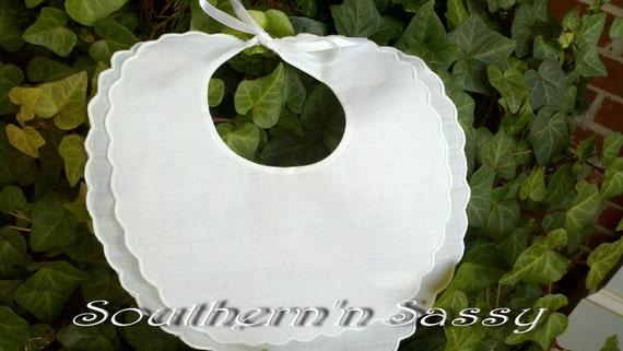 White Scalloped Monogrammed Bib