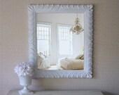 Vintage Cottage Chic Mirror, Shabby Chic Mirror, Swirly Fairytale style