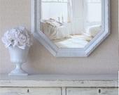 Cottage Chic long octagon Mirror, White Mirror