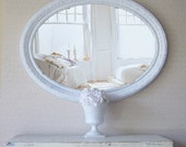 Vintage XL Oval Mirror, French Country Farmhouse, White
