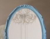 Wedgewood Blue, Vintage Shabby Chic Mirror, Vanity, French Provencal, Nursery