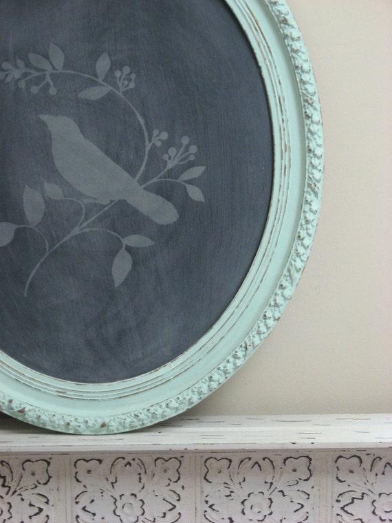 Antique Aqua Framed Chalkboard, Turquoise Blackboard, Shabby Chic Bird